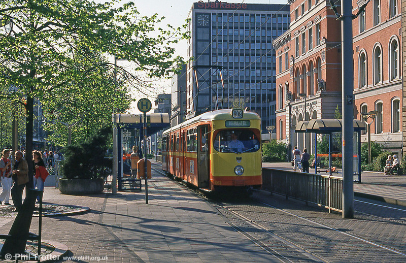 1966-built Duisburg 1063 in orange and yellow livery at Konigstrasse.