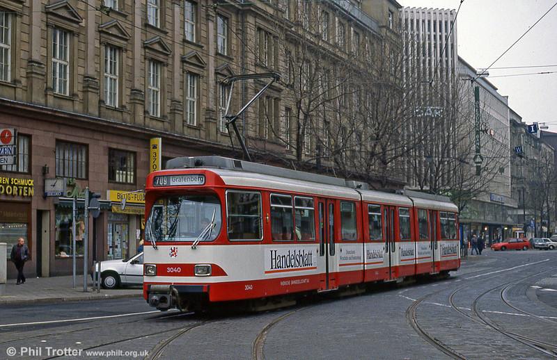Car 3040 at Berliner Allee on 1st April 1991.
