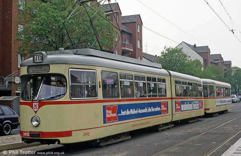 Car 2412 at Lierenfeld, Schlesische Strasse  on 21st April 1994.