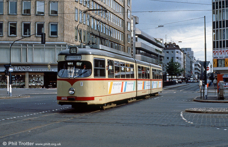 Car 2670 at Berliner Allee on 1st April 1991.