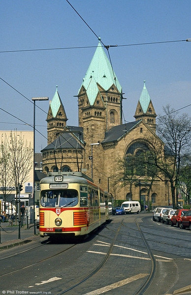Car 2433 at the Kreuzkirche (Cross Church), Dreieck on 21st April 1994.