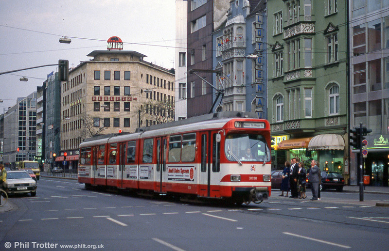 Car 3038 at Berliner Allee on 1st April 1991.