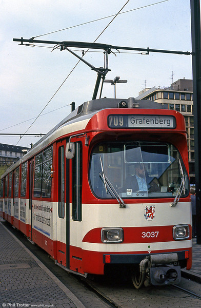 1974-built Dusseldorf 3037 at the Hauptbahnhof on 24th April 1993.