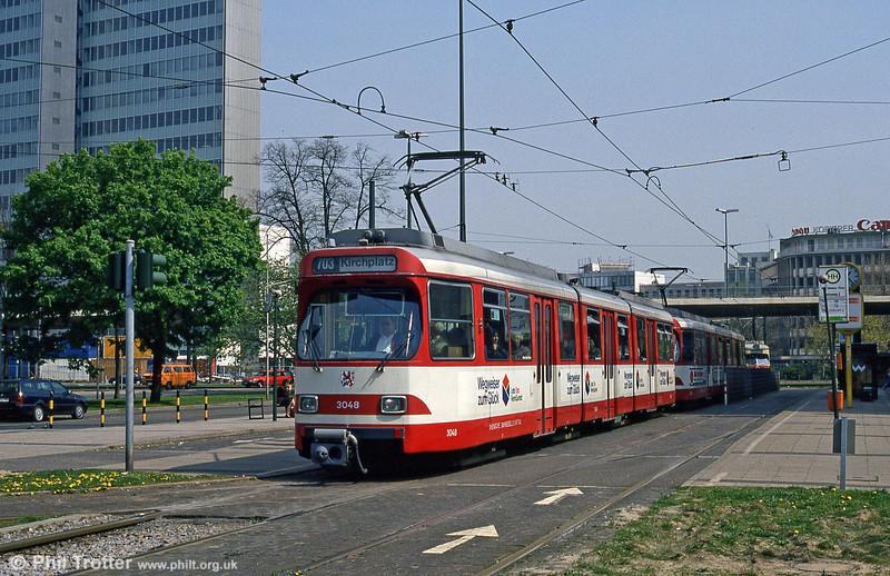 Car 3408 at Jan Wellem Platz on 21st April 1994.