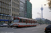 Car 3044 at Berliner Allee on 1st April 1991. The Rheinturm (Rhine Tower) is a 240.5 metre high concrete telecommunications tower. Construction commenced in 1979 and finished in 1981. The Rheinturm carries aerials for directional radio, FM and TV transmitters. It stands 174.5 metres high and houses a revolving restaurant and an observation deck at a height of 170 metres.