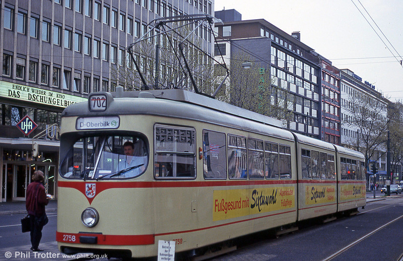 Dusseldorf 2758 at Berliner Platz on 23rd April 1993.