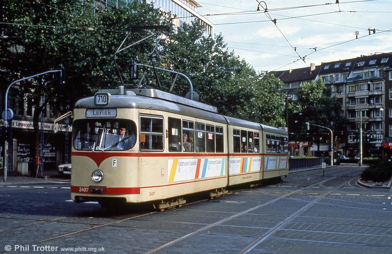 Car 2497 at Berliner Allee on 1st April 1991.