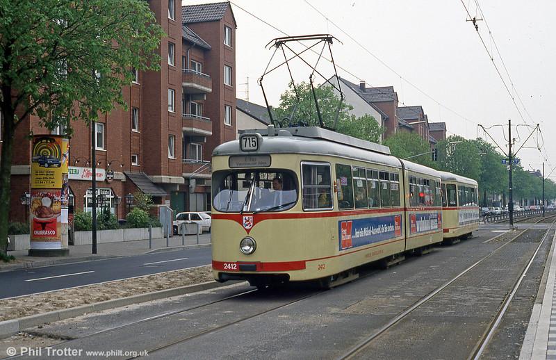 Car 2412 at Lierenfeld, Schlesische Strasse  on 21st April 1994.