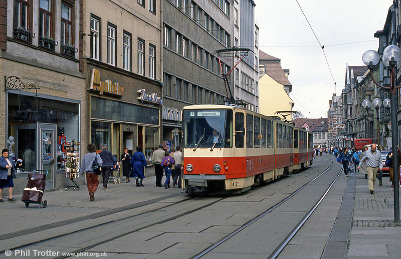 Tatra KT4D 412 at the Hauptbahnhof on 8th April 1991.