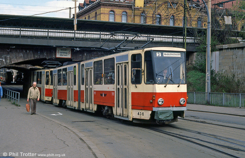 Tatra KT4D 436 at the Hauptbahnhof on 8th April 1991.
