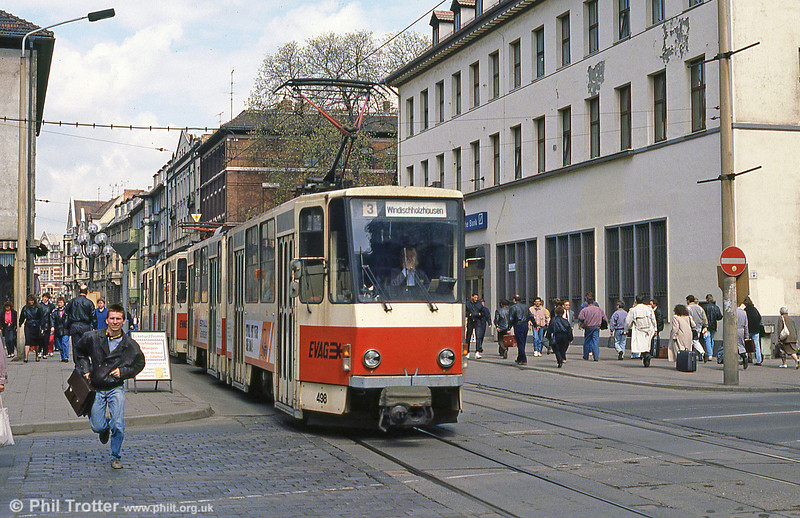 Tatra KT4D 498 and someone who is late for his train near the Hauptbahnhof on 8th April 1991.