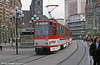 Erfurt Tatra KT4D 540 in the centre on 8th April 1991. (First Published in Modern Tramway, 10/91).