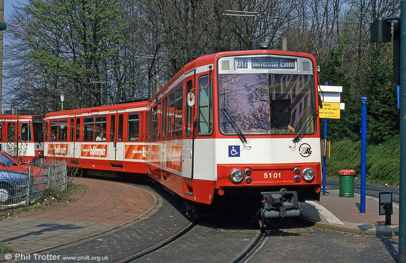 Essen Stadtbahn car 5101 on cross-city route U17 at Margarethenhohe on 19th April 1994.