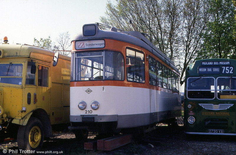 1956-built Duwag Frankfurt 210 at the Midland Bus Museum, Wythall UK on 29th January 1990.