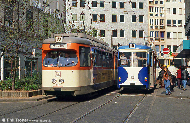 Frankfurt (Main) 616 near Frankfurt Hbf. on 2nd April 1991.