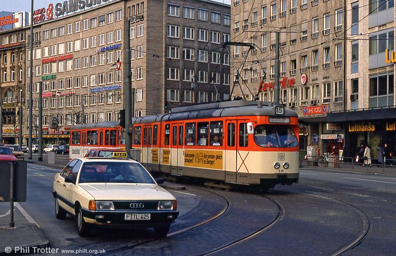 Frankfurt (Main) 616 near Frankfurt Hbf. on 2nd April 1991.
