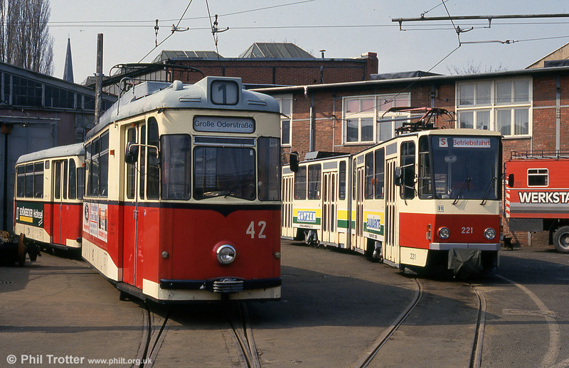 A depot scene with 1967 CKD-built T2D no. 42 (ex- Plauen 93 in 1989) and Tatra KT4D 221.