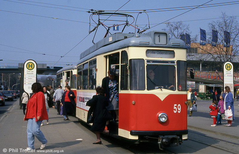 Frankfurt (Oder) 1958-built Gotha T57E no. 59 waits at Platz der Republik. This car was formerly Erfurt no. 125 in 1983.