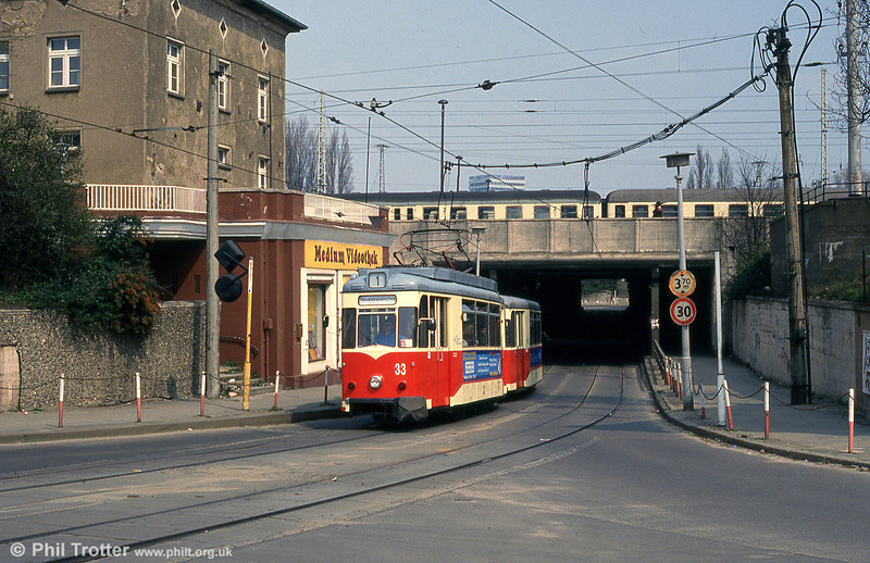 Frankfurt (Oder) 1961-built Gotha T57 no. 33 at the Bahnhof underbridge.