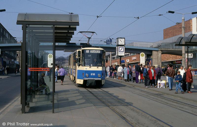 Frankfurt (Oder) Tatrat KT4D no. 215 at Platz der Republik.