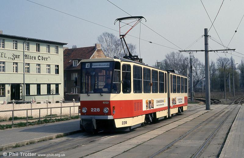 Frankfurt (Oder) Tatrat KT4D no. 228 at Stadion terminus.