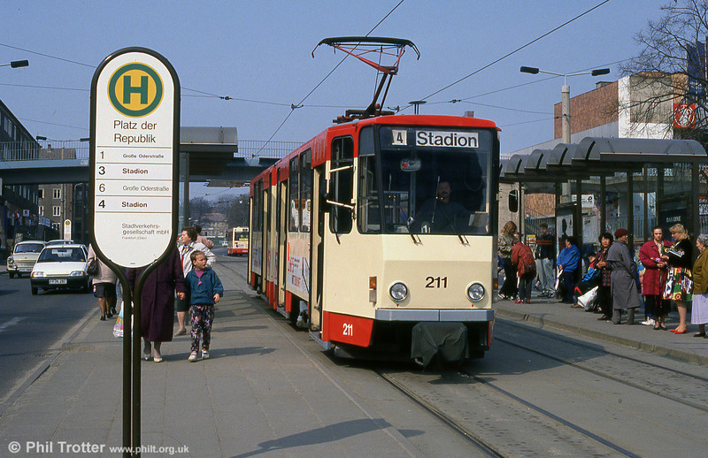 Frankfurt (Oder) Tatrat KT4D no. 211 at Platz der Republik.