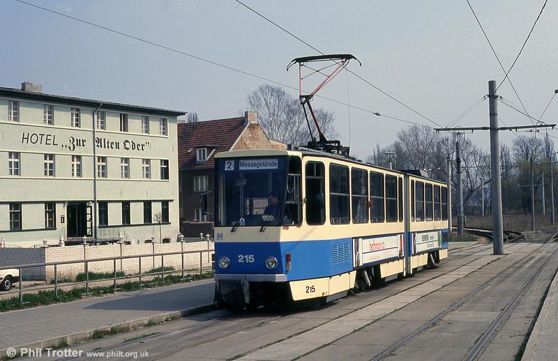 Frankfurt (Oder) Tatrat KT4D no. 215 at Stadion terminus.