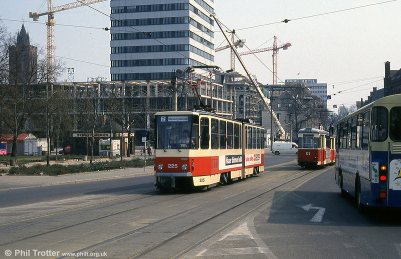 Frankfurt (Oder) Tatrat KT4D no. 225 at Platz der Republik. In this immediate post reunification scene, there is clear evidence of the widespread investment as the former DDR was modernised.