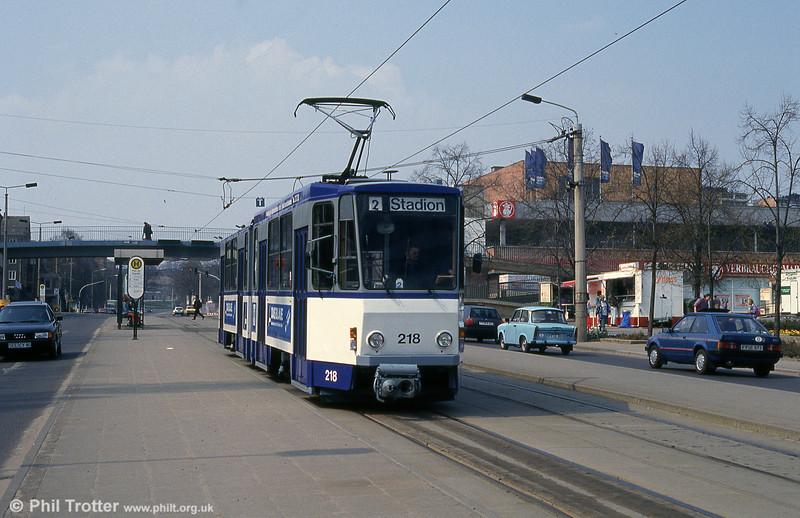 Frankfurt (Oder) Tatrat KT4D no. 218 at Platz der Republik.