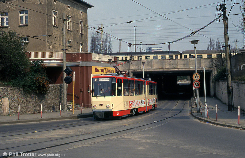 Frankfurt (Oder) Tatrat KT4D no. 211 near the Bahnhof underbridge.
