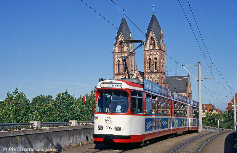 Duewag car 205 of 1981 at the Hauptbahnhof on 1st August 1993.