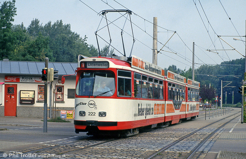 Freiburg 222 at Moosweiher on 4th August 1993. (First published in Light rail & Modern Tramway, 5/94).