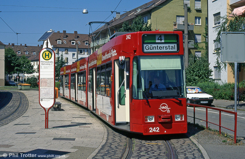 New Freiburg low floor car 242 at Hornustrasse in August 1995.