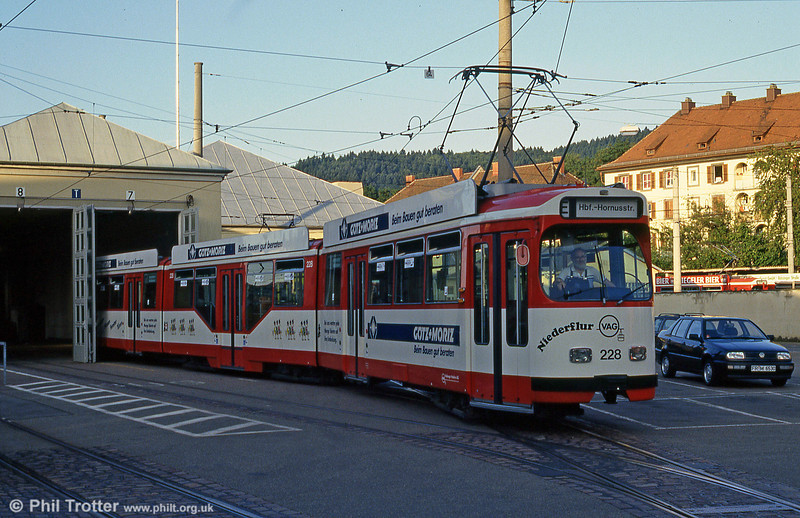 Duewag car 228 at Komturstrasse Depot on 2nd August 1993.