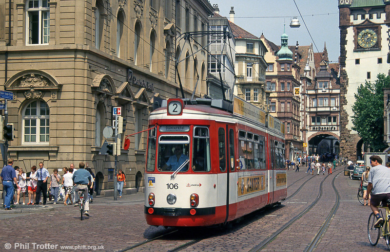 Freiburg GT4 106 at Bertoldsbrunnen on 4th August 1993.