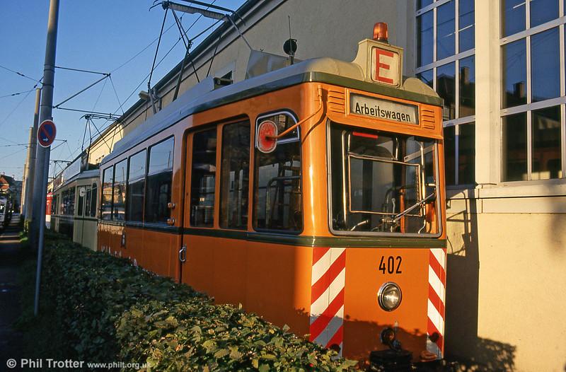 Rastatt works car 402 of 1951 at Komturstrasse Depot on 2nd August 1993.