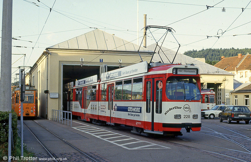 Duewag car 228 at Komturstrasse Depot on 2nd August 1993.