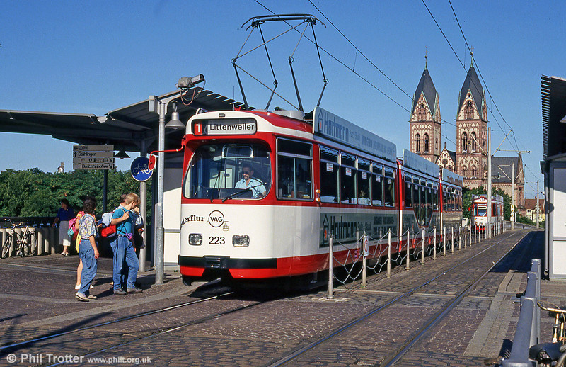 Duewag car 223 at the Hauptbahnhof on 1st August 1993.