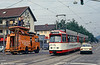 Attending to over head wires at Littenweiler with car 230 on 4th August 1993.