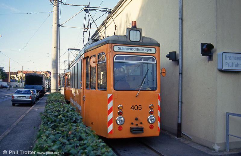 Rastatt works car 405 of 1951 at Komturstrasse Depot on 2nd August 1993.
