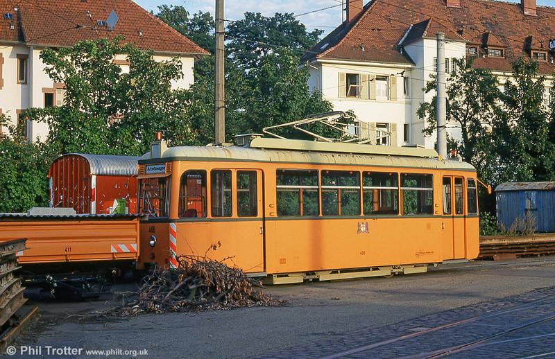 Rastatt works car 406 of 1951 at Komturstrasse Depot on 2nd August 1993.