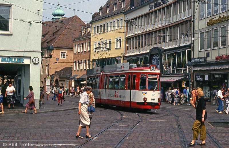 Freiburg GT4 117 at Bertoldsbrunnen on 2nd August 1993.