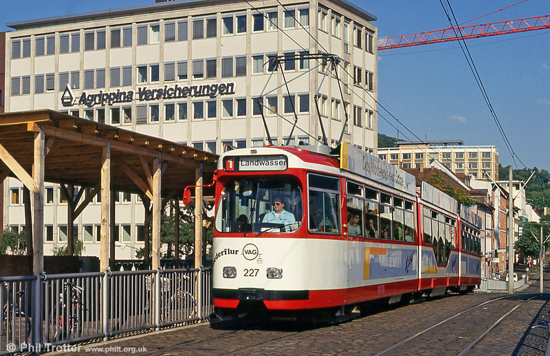 Duewag car 227 at the Hauptbahnhof on 2nd August 1993.