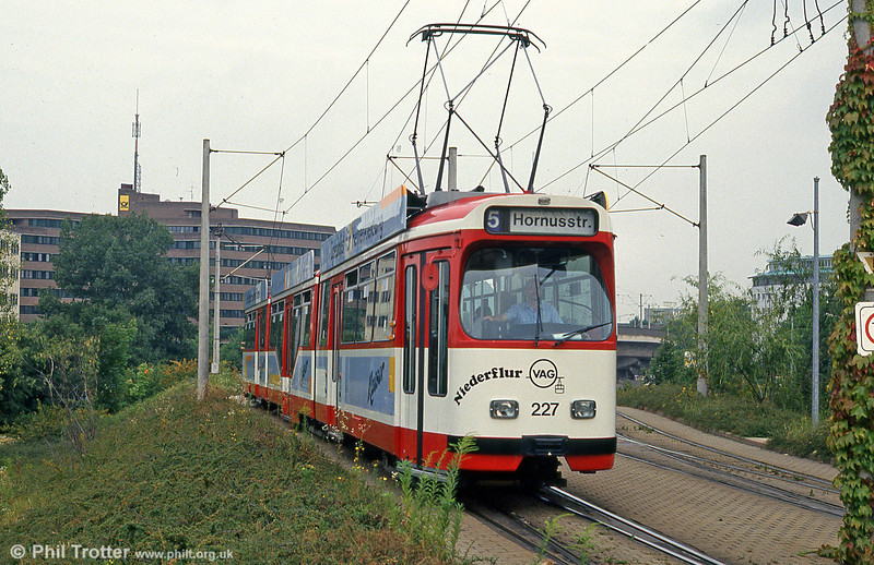 Duewag car 227 at Runzmattenweg on 4th August 1993.