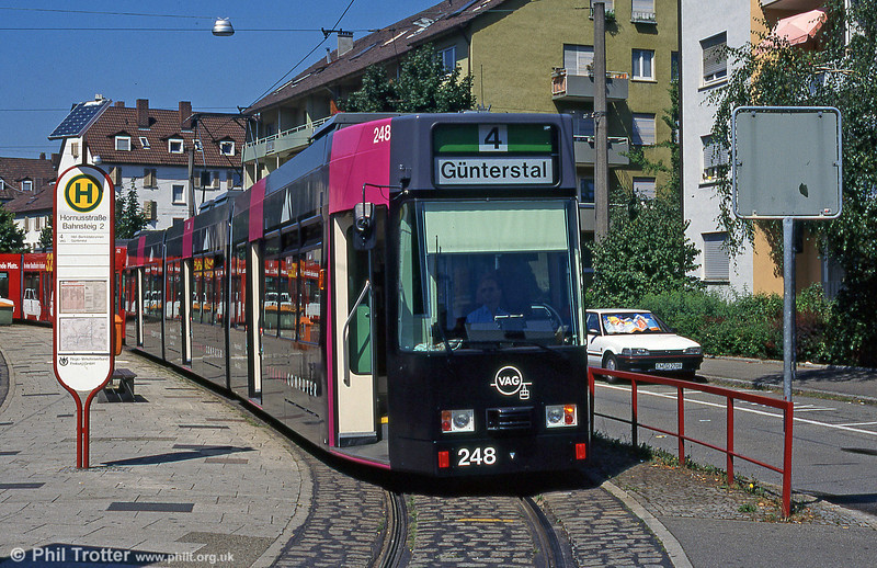 New Freiburg low floor car 248 at Hornustrasse in August 1995.