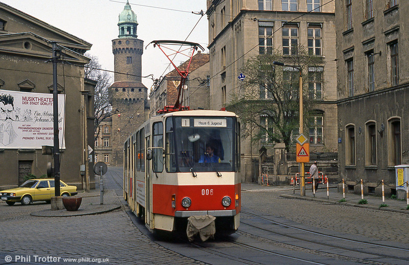 Gorlitz 006, a Tatra KT4D at Demianiplatz on 7th April 1991. Mercifully, the centre of Gorlitz has been restored since reunification.