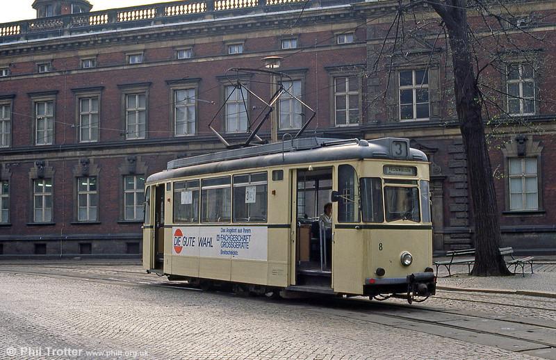 Gorlitz 8 (ex Plauen) of 1960 at Demianiplatz on 7th April 1991.