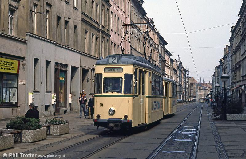 Gorlitz 15 (ex Halle) of 1958 at Berliner Strasse on 7th April 1991.