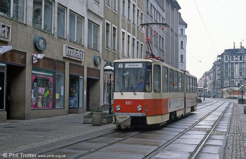 Gorlitz 006, a Tatra KT4D at Berliner Strasse on 7th April 1991.