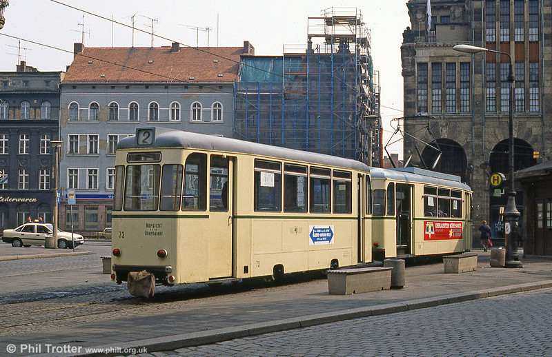 Gorlitz trailer 73 at Demianiplatz on 7th April 1991.